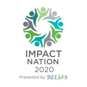 """Impact Nation logo - icons of people holding hands form a circle, text below """"Impact Nation 2020 presented by Relias"""""""